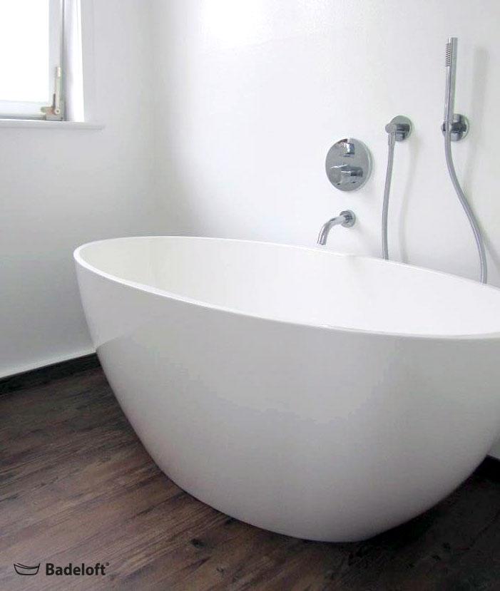 Freistehende Badewanne BW-04-L aus Mineralguss in matt und glänzend
